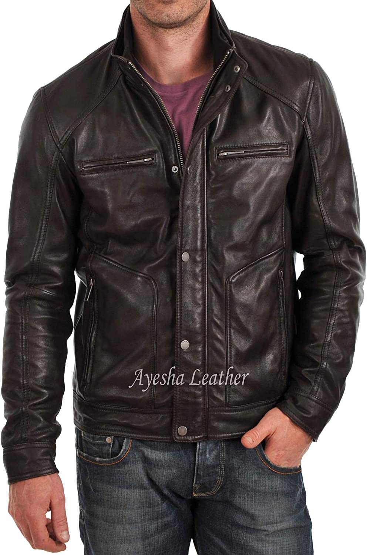 Ayesha Mens Leather Jackets Motorcycle Bomber Biker Genuine Lambskin 42