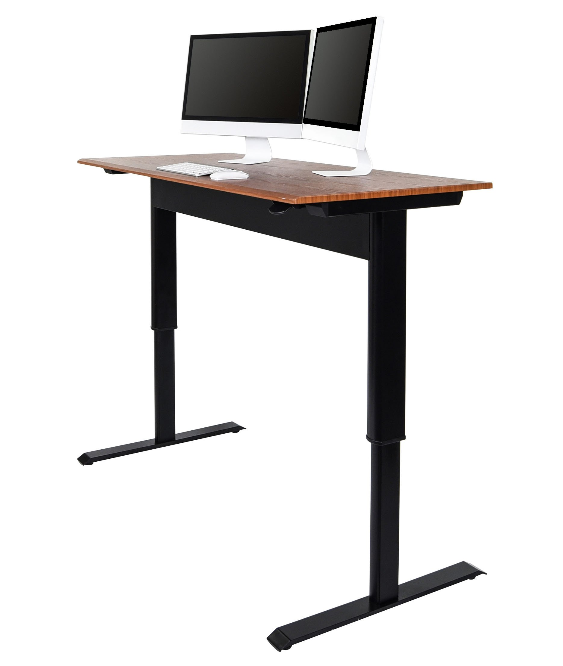 Pneumatic Adjustable Height Standing Desk (48'', Black Frame / Teak Top)