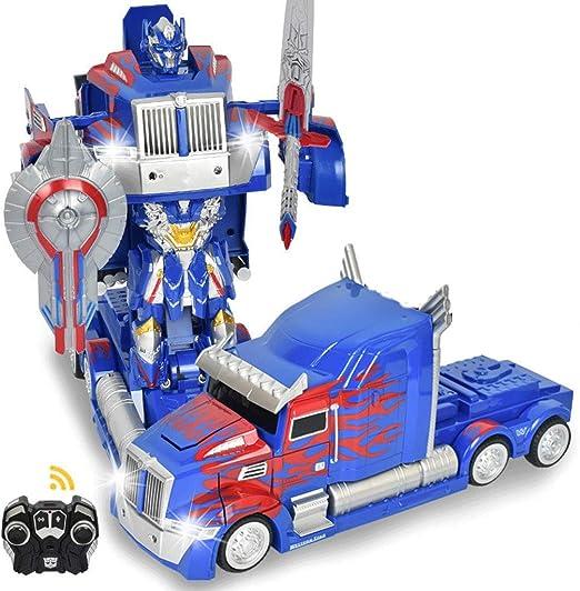 Deformación de Camiones Optimus Prime RC Toys Robot Transformador Control Remoto 360 Speed Drift Semi-Truck Robot Toys Niños Fiesta de cumpleaños Modelo ABS Transformers Stunt: Amazon.es: Hogar