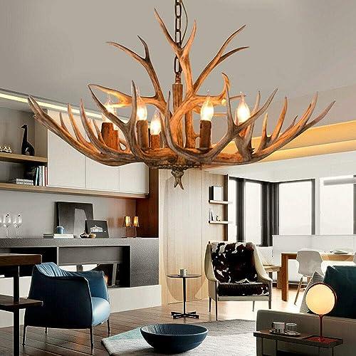 Retro Antler Chandelier Deer Horn 6 Light Pendant Hanging Ceiling Lamp Countryside Antler Lighting Fixture