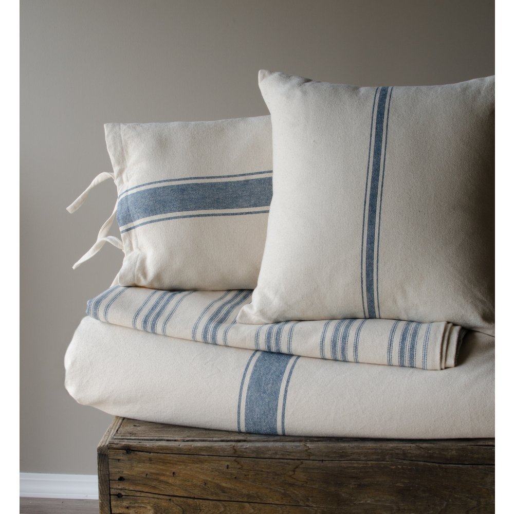 French farmhouse grain sack blue stripe pillow cover