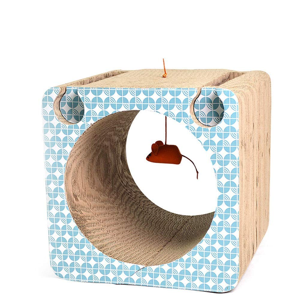 Cat Scratch Cardboard,Fun Pet Claws Tunnel Bells Ball Cat Jumping Platform Corrugated Scratch Paper Cat Toy A Good Gift