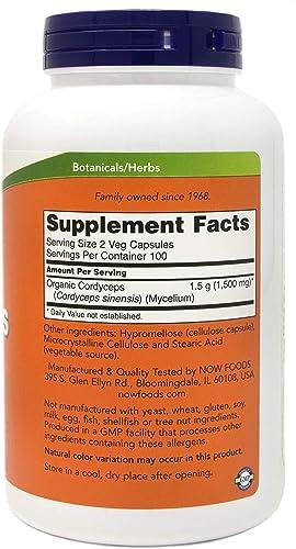 NOW Foods Cordyceps 200 Vegan Caps, 750mg, Organic Cordyceps Sinensis Mycelium Mushroom Powder – in Non-Organic Capsules – Non-GMO VCaps