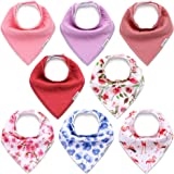 KiddyCare Baby Bibs for Girls 8 Pack - 100% Organic Cotton for Drooling and Teething - Super Absorbent Bandana Bibs for…