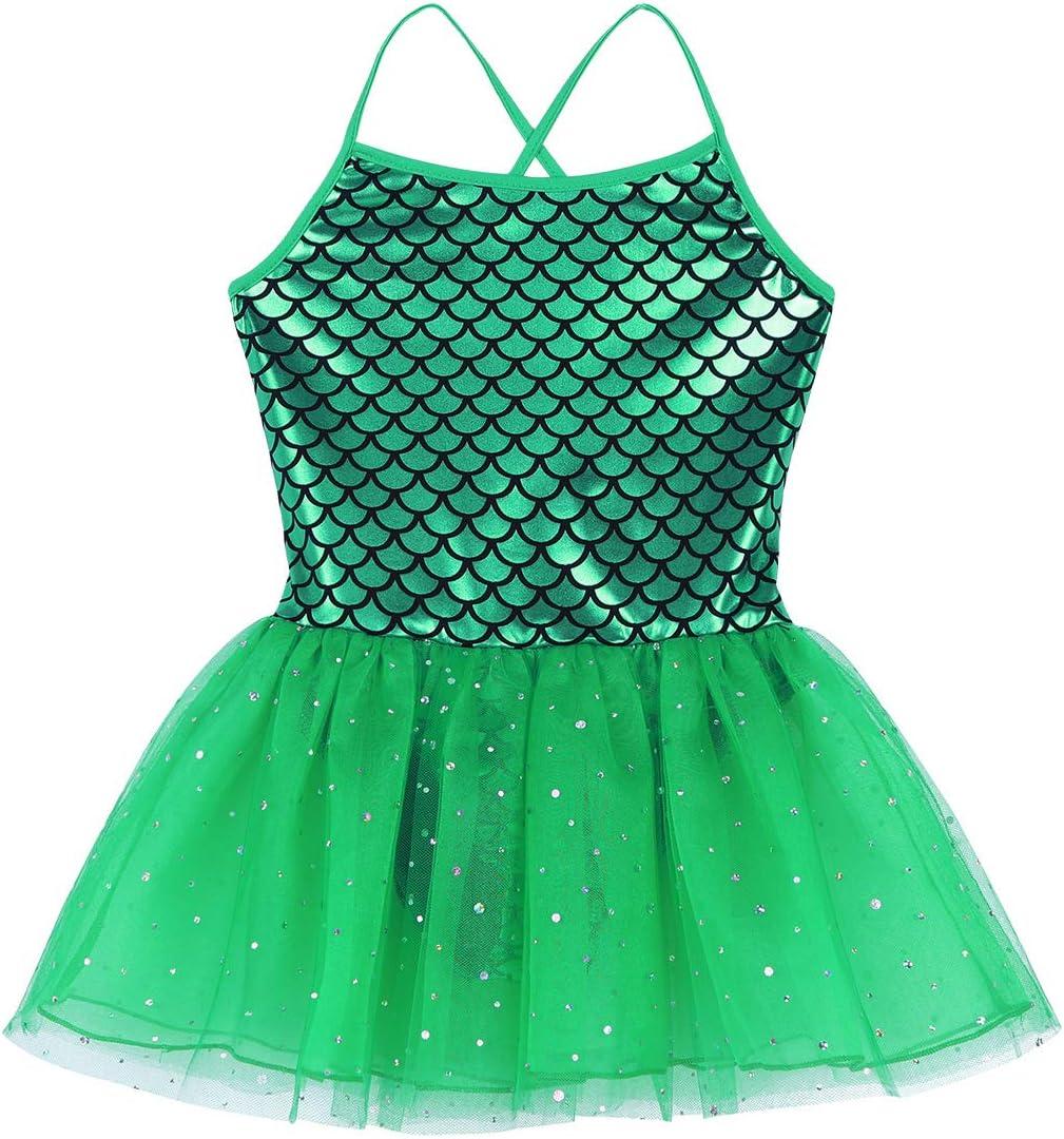 Agoky Kids Girls Shiny Mermaid Scales Printed Glitters Ballet Dance Tutu Dress Gymnastics Leotard Costume