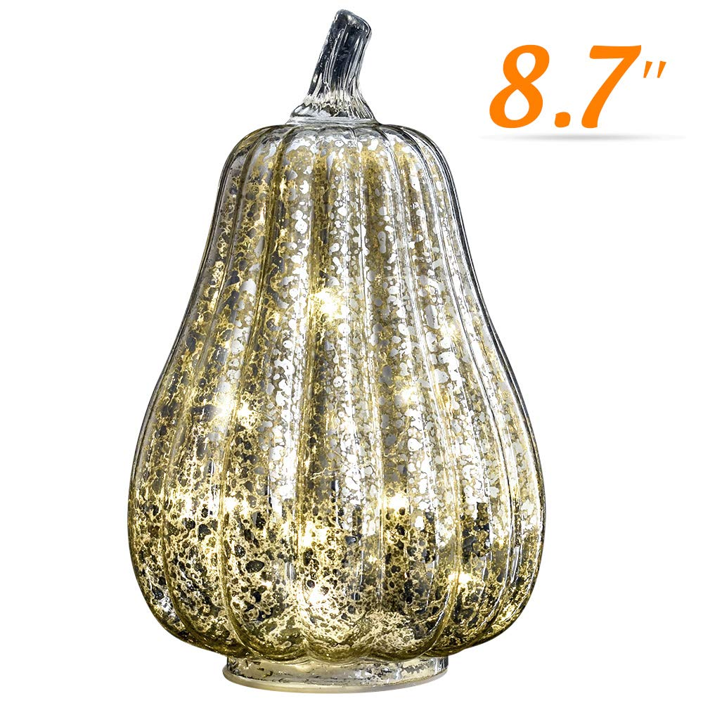 Halloween Pumpkin Lantern Light, JackoLantern Decorative Pumpkins Mercury Glass Decor Fall Decorations led Timer Candles Battery Operated Medium (L-Sliver)