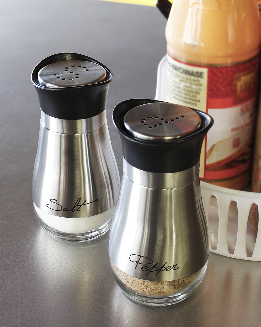 Salt and Pepper Shakers Set - High Grade Stainless Steel with Glass Bottom and 4' Stand - 4'' x 6'' x 2'', 4 oz. by Juvale (Image #5)