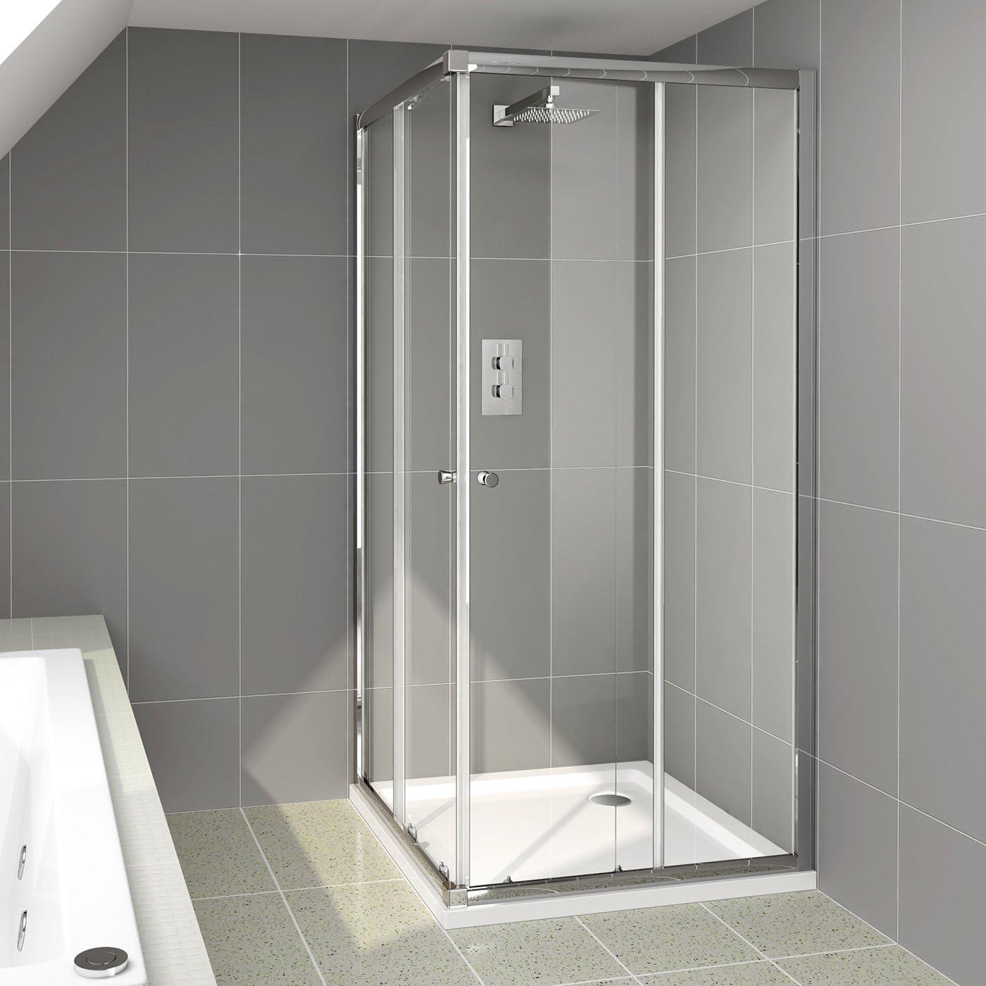 800 x 800 mm moderno esquina entrada doble puerta de cristal ducha ...