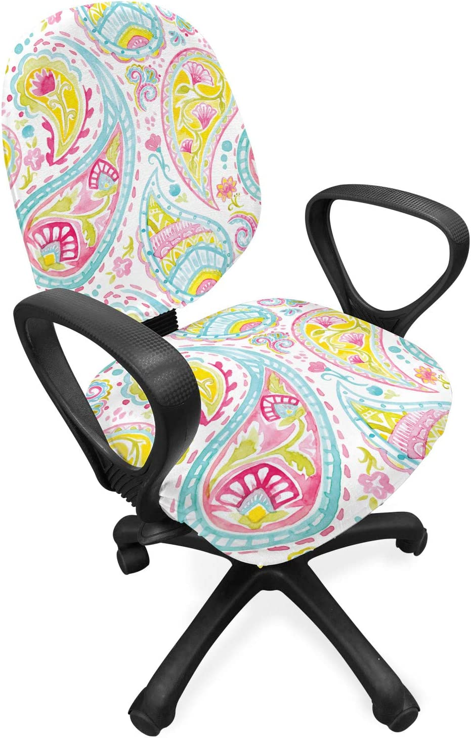 Ambesonne Artwork Office Chair Slipcover, Paisley Design in Watercolor Effect Brush Strokes and Flower Motifs Ornamental, Protective Stretch Decorative Fabric Cover, Standard Size, Green Aqua