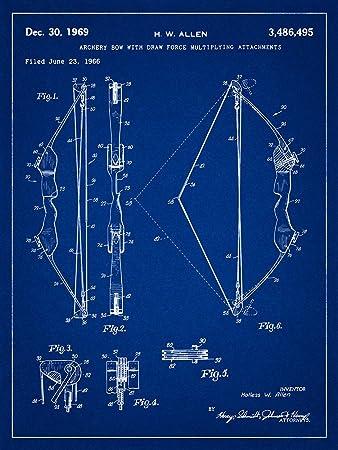Amazon archery bow 1966 patent blueprint style art print archery bow 1966 patent blueprint style art print 18x24 inch malvernweather Gallery