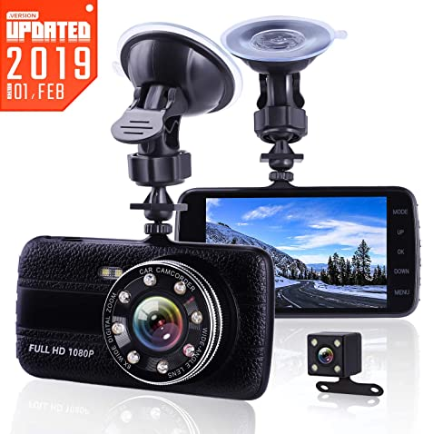 G-Sensor iiwey Dash Cams for Cars Front and Rear with Night Vision 1080P Full HD Dual Lens Dash Cam 4 Inches Large IPS Screen Loop Recording 170 Wide Angle Car Camera with 8 Led Lights