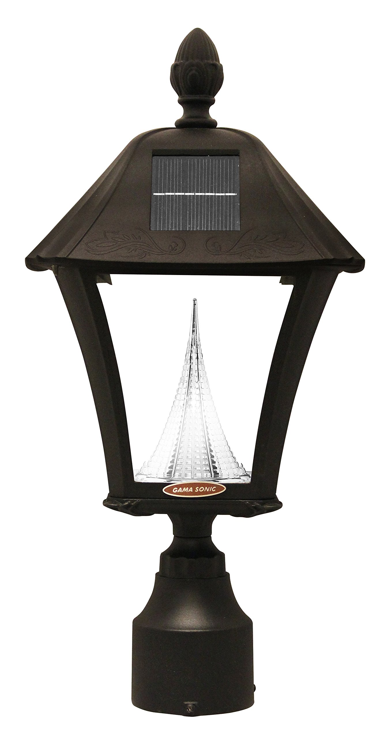 Gama Sonic Baytown Solar Outdoor LED Light Fixture, Pole/Post/Wall Mount Kit, Black Finish #GS-106FPW-B by Gama Sonic (Image #2)