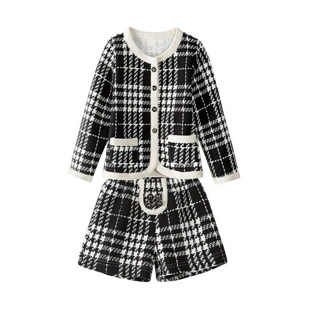Gotd Toddler Kids Baby Girls Clothes Outfit Cardigan Coat Tops+Shorts Pants Winter (6T(5-6 Years), Black)