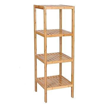Attractive SONGMICS 100% Bamboo Bathroom Shelf 4 Tier Multifunctional Storage Rack Shelving  Unit 38 5