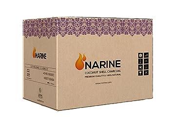 Narine Coco Carbón 20 kg Cartón Shisha Pipa de agua Adecuado para SHIS habar Barbacoa Carbón