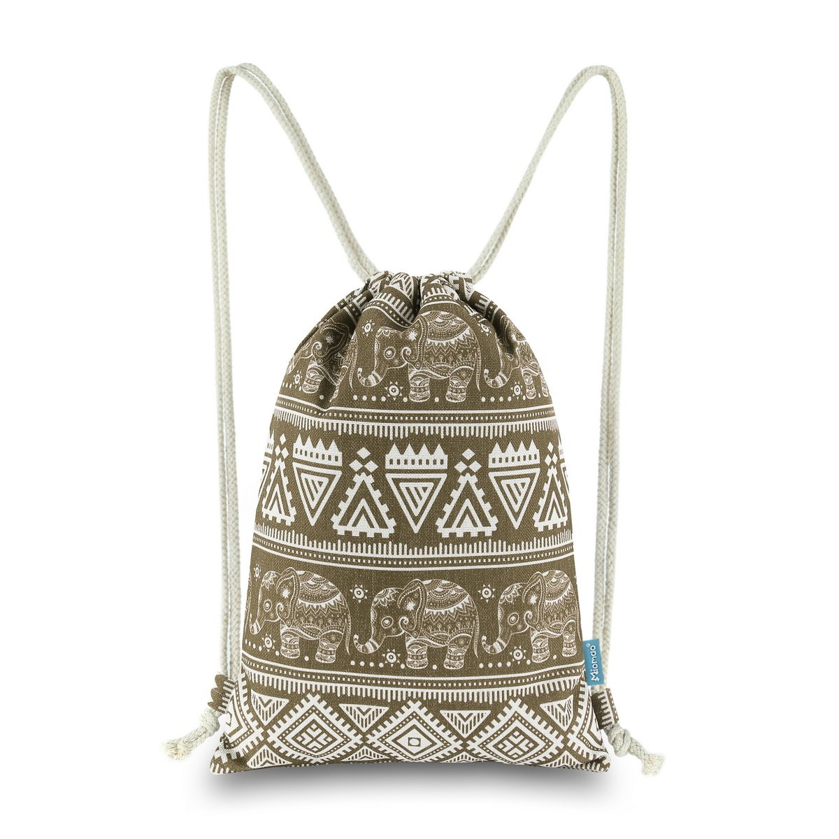 Miomao Drawstring Backpack Elephant String Bag Geometric Gym Sackpack Canvas Sinch Sack Sport Cinch Bag, 13'' X 18'', Coffee