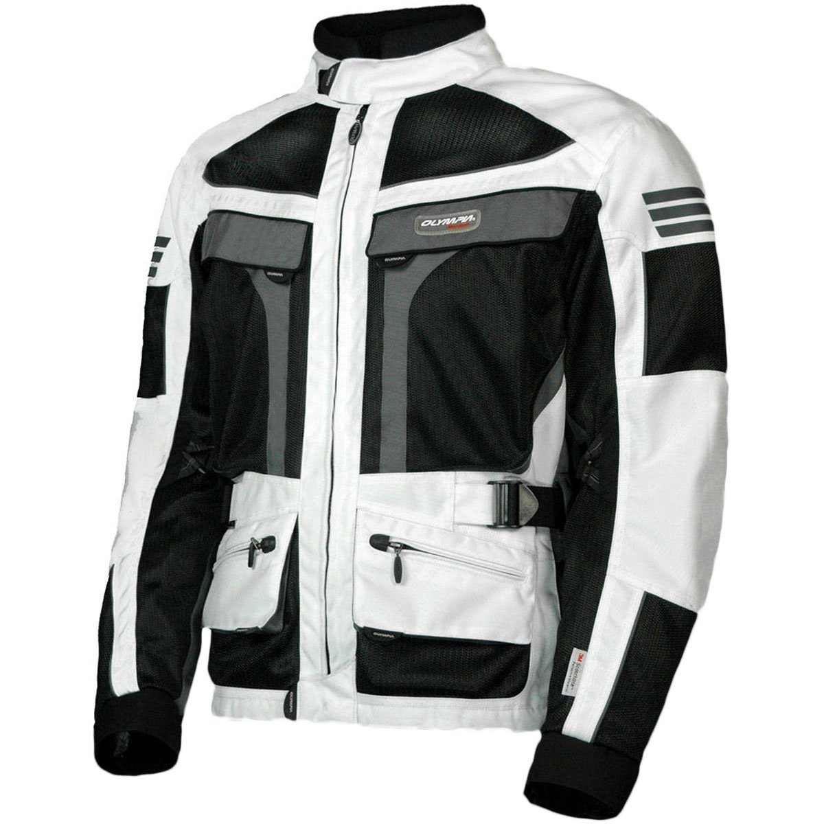 Olympia Moto Sports MJ222 Men's Dakar Dual Sport Mesh Tech Jacket (Ivory/Black, Large)
