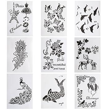 Amazon Com 9 Pcs Plastic Painting Drawing Stencils Templates For