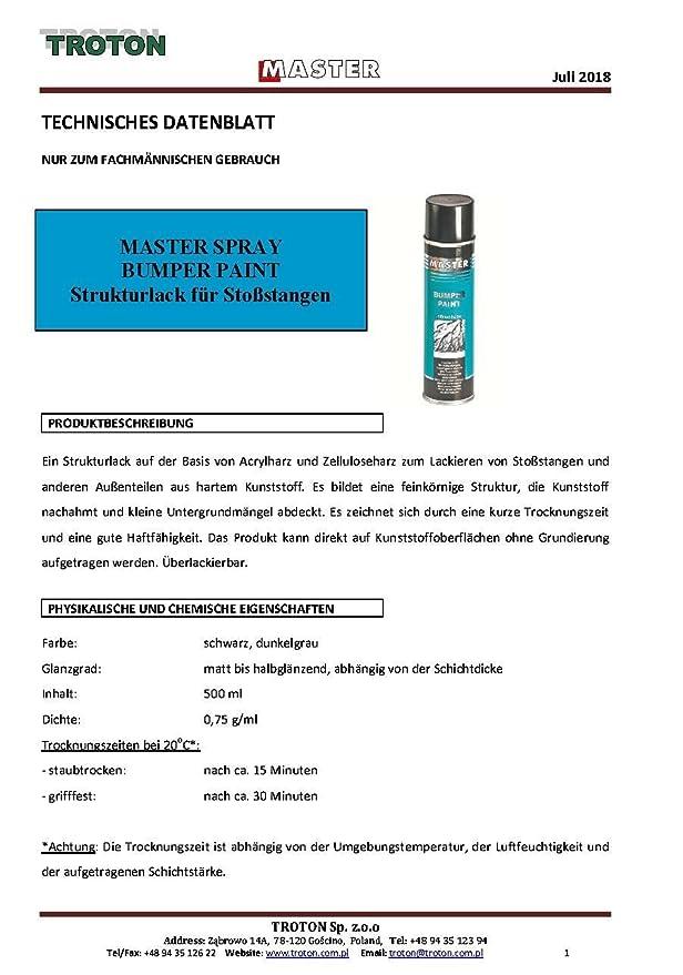 Troton Kunststoff Struktur Spray 1 X 500ml Schwarz Bumper Paint