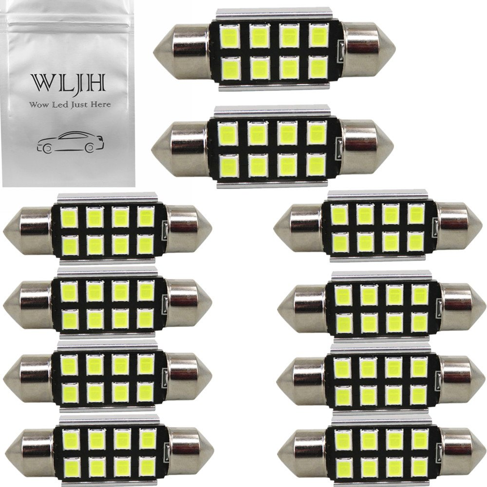 WLJH 31mm LED Festoon Bulb Extremely Bright Canbus Error Free 2835 Chipsets DE3022 DE3175 LED Interior Dome Light Map Door Courtesy Light Bulbs(10pcs, White)