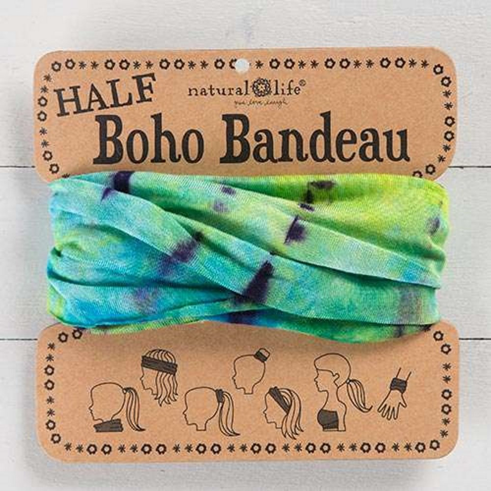 49cec889b6b Amazon.com  Natural Life Half Boho Bandeau Green   Yellow Tie-Dye ...