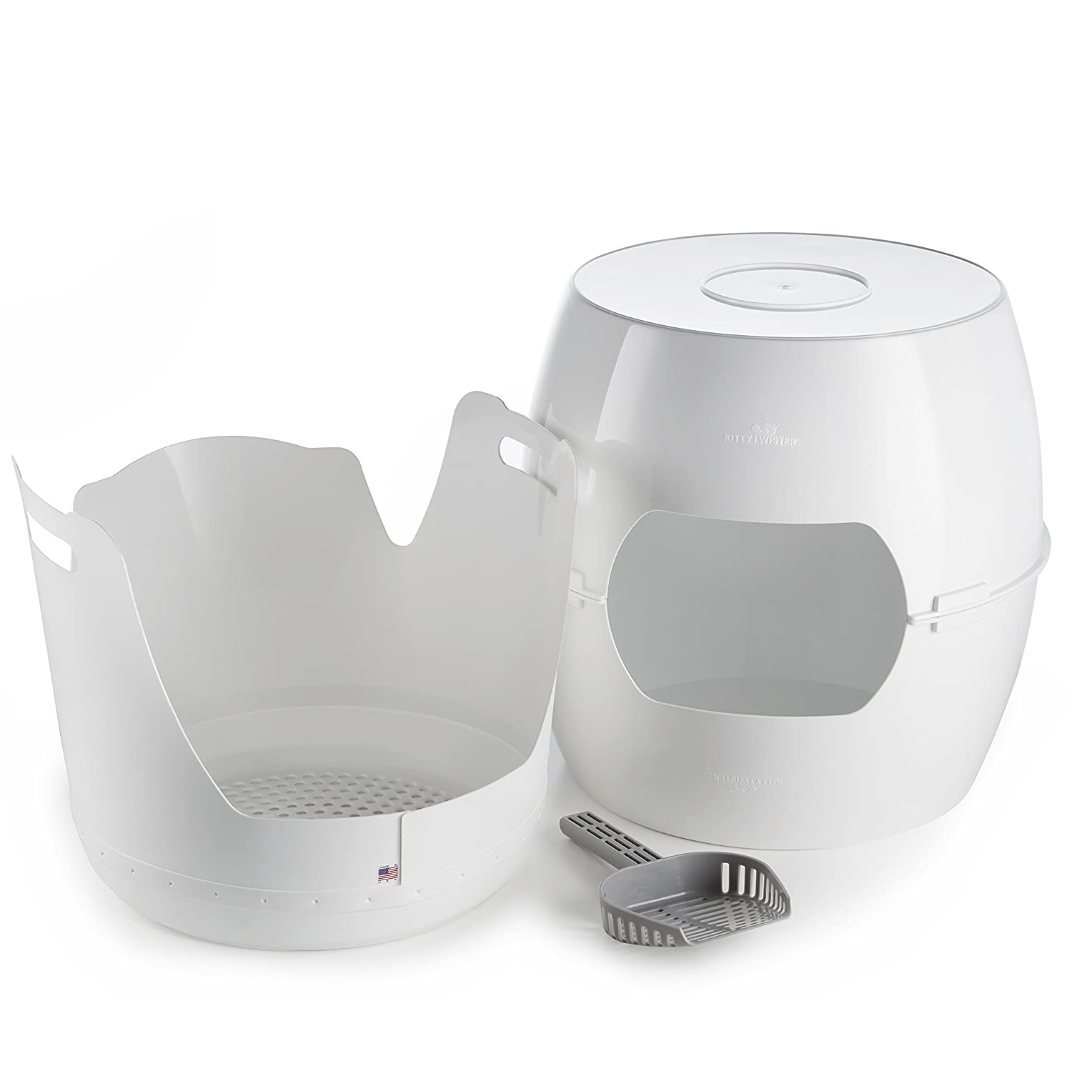 KittyTwister TRIO Large Sifting Litter Box Includes Lift n' Twist Sifting Tray and Scoop Ease Scoop Premium Quality and Stylish Appearance.