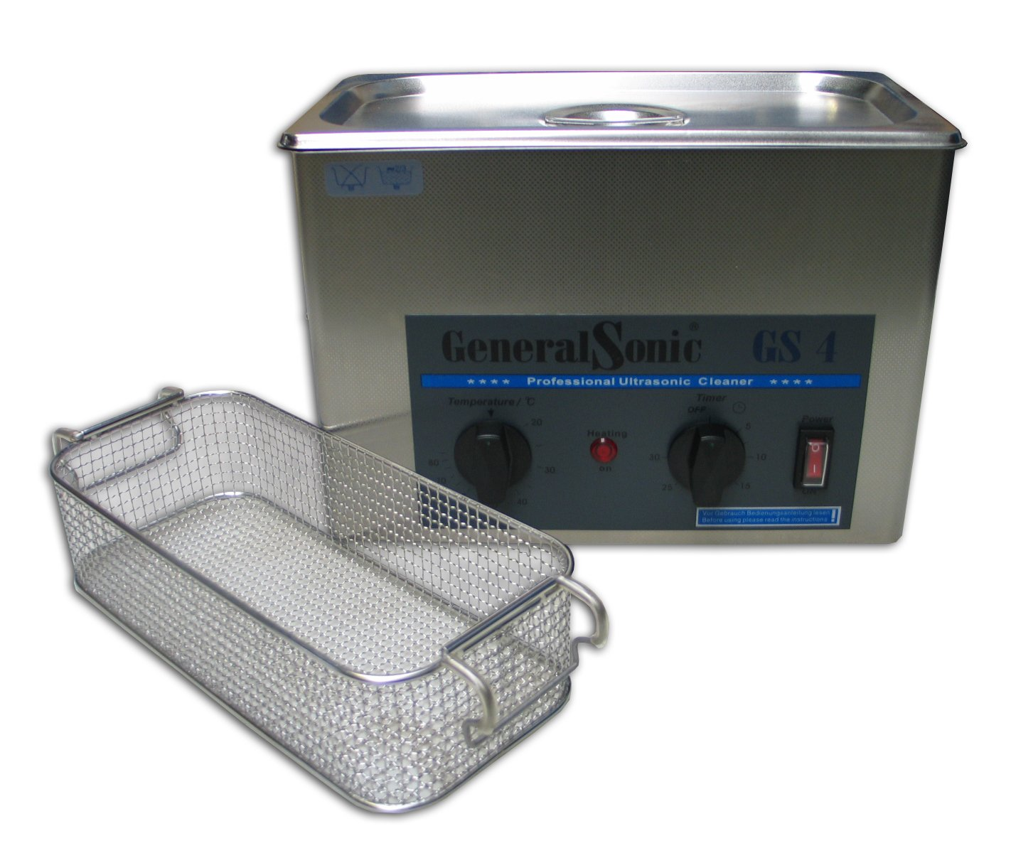 GeneralSonic GS4-4 Liter Ultrasonic Cleaner | Stainless Steel Ultrasonic bath | with Heater | frequency 35 KHz | Timer Setting: 0-30 Minutes UltrasoonShop