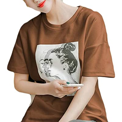 Fly Year-JP Women Fashion Summer Loose Fit Floral Crew neck Short Sleeve Shirt