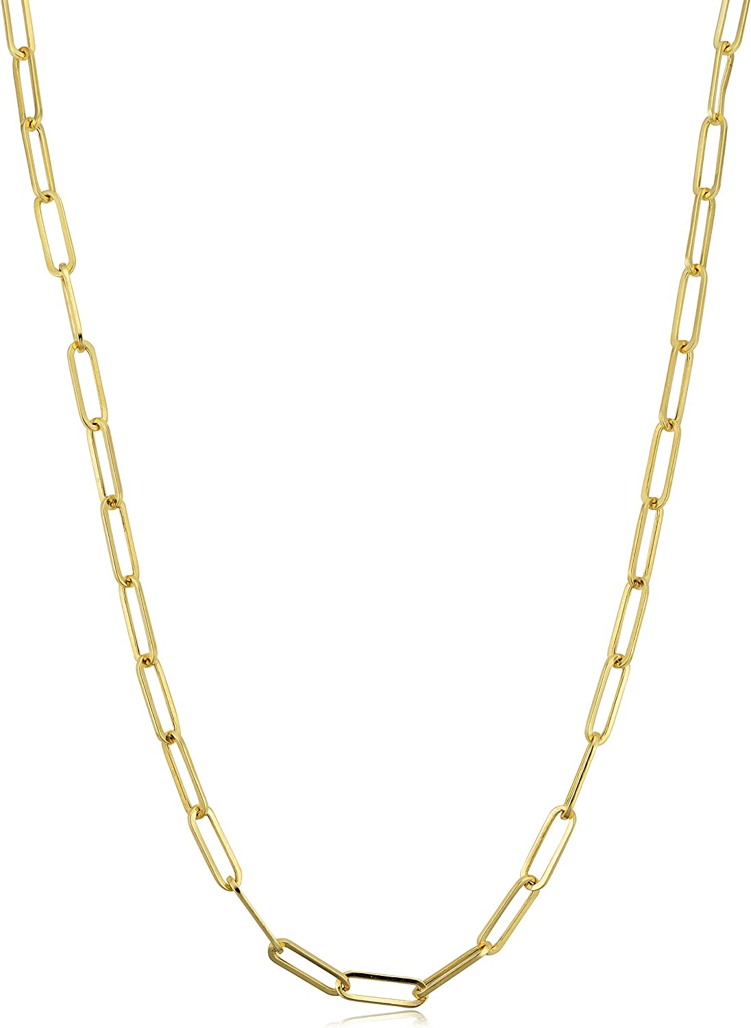 KoolJewelry 14k Yellow Gold 3mm Polished Capsule Paperclip Chain Necklace (18, 20, 24, 30 or 36 inch)