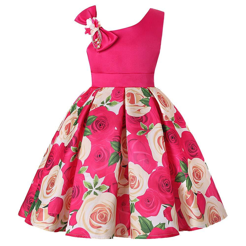BBestseller Verano Mini Vestir de los ni/ños sin Tirantes Correa para el Hombro Floral de la Flor Vestido del Arco Falda Princesa Tutu