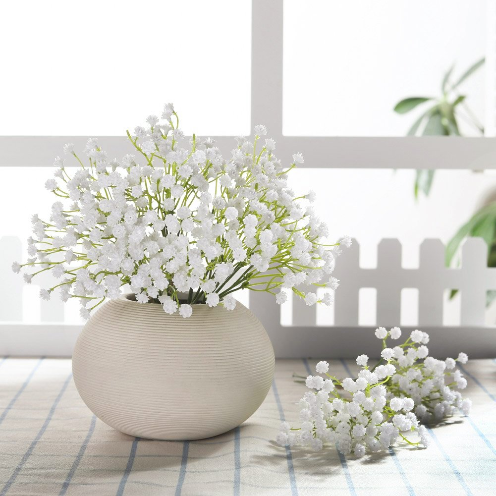 JUSTOYOU 10pcs Babies Breath Flowers Artificial Fake Gypsophila PU Silica for Wedding Bridal Bouquet Home Floral Arrangement White