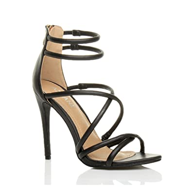 bd33a7061585 Womens Ladies high Heel Strappy Barely There Zip Sandals Shoes Size 3 36