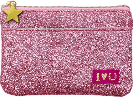 Cartera Monedero color rosa con Brillantina 12x8cm: Amazon ...