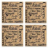 Epic Products Salutations Cork Coasters, Set of 4