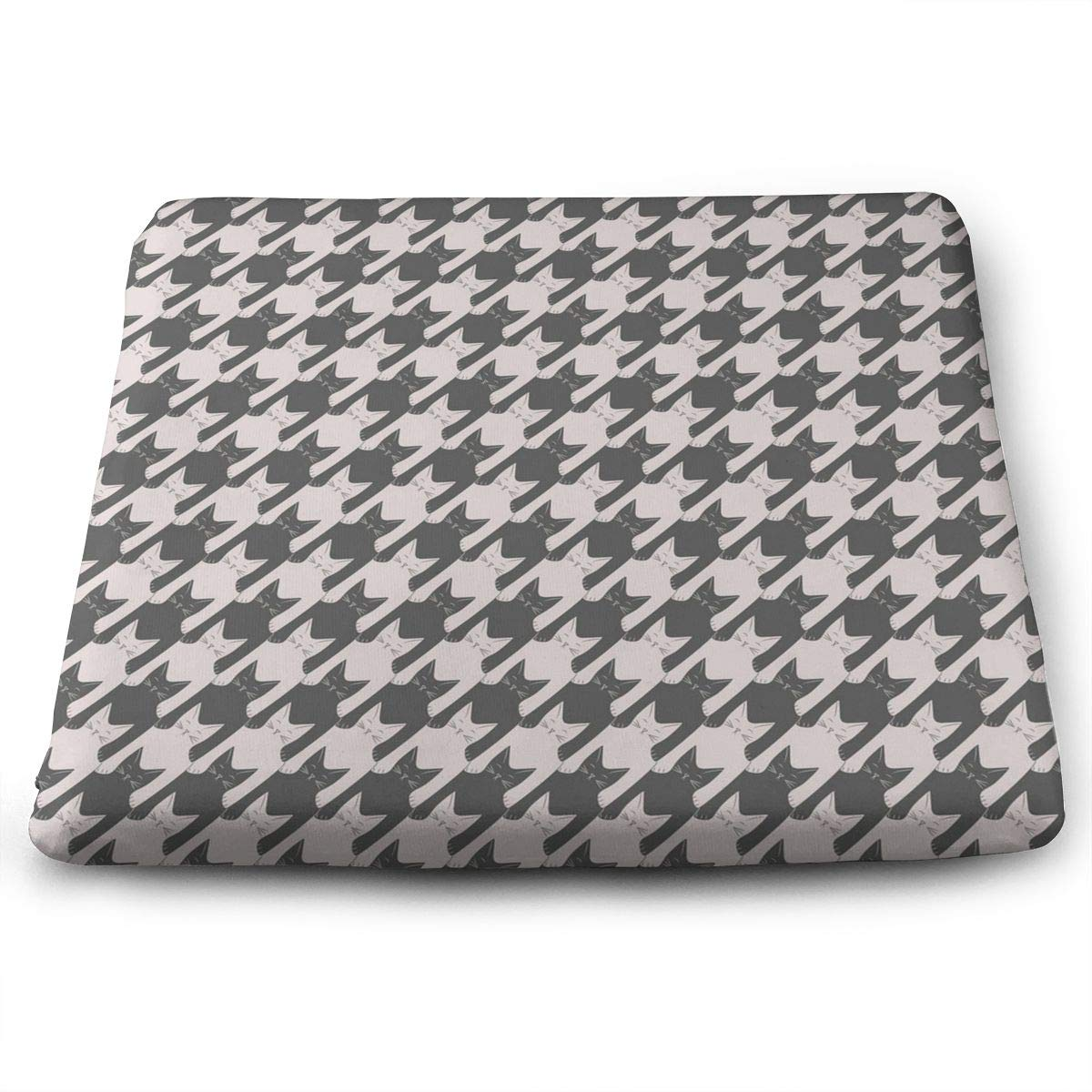 MODREACH Novelty Perfect Indoor Outdoor Square Seat Cushion - Cat Houndstooth Chair Pads Memory Foam Filled for Patio/Office/Kitchen/Desk/Travel/Kids/Yoga