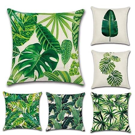 Cuscini Verdi.6 Cuscini Decorativi A Forma Di Foglia Tropicale Motivo Palme