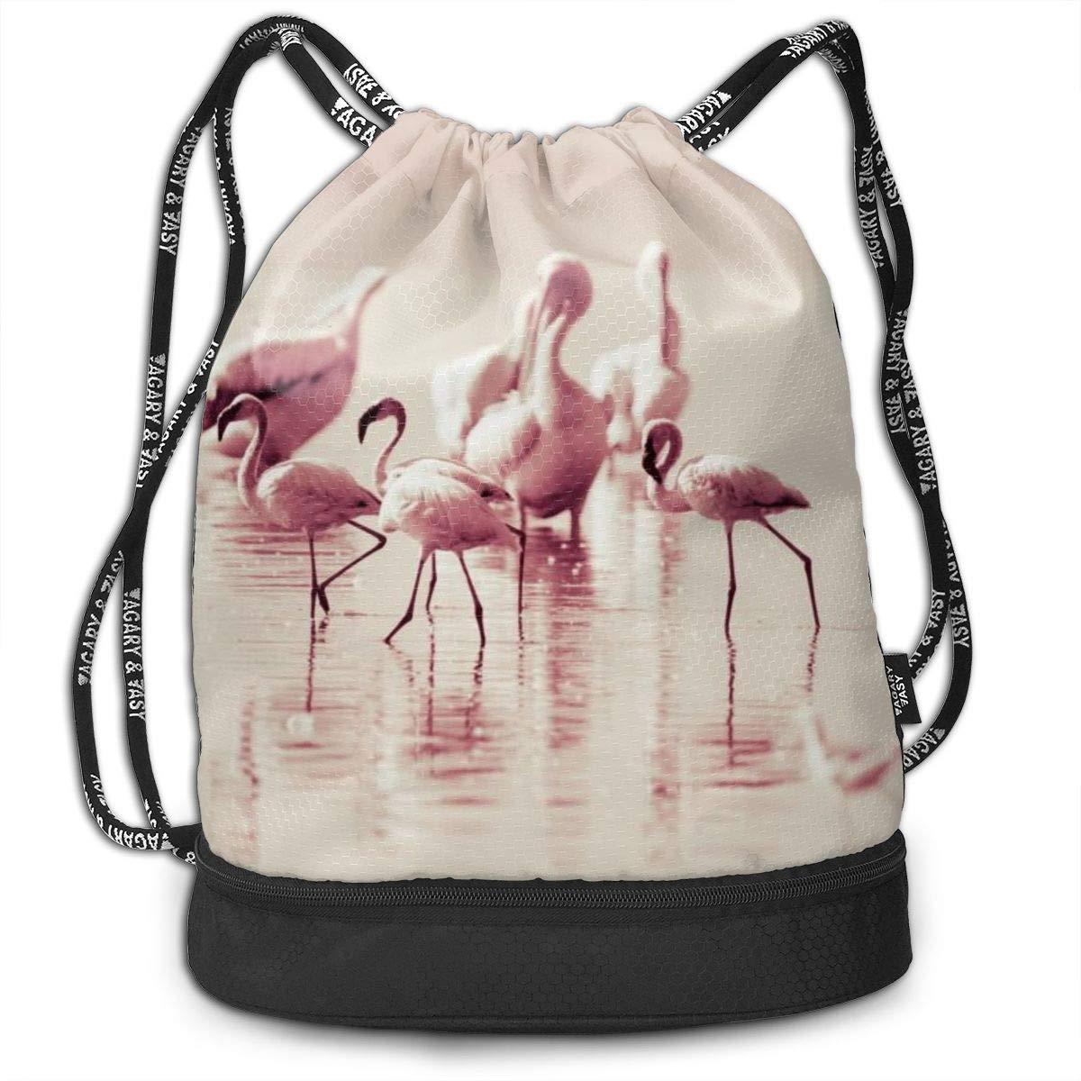 Kji Gym Sack Drawstring Bag Flamingo Picture Printed Sackpack Sport Cinch Pack Backpack for Men Women