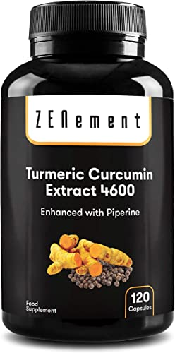 Turmeric Curcumin Extract, Concentrated 4600mg, 120 Capsules, with Black Pepper Powerful antioxidant, for Joints, 100 Natural Non-GMO