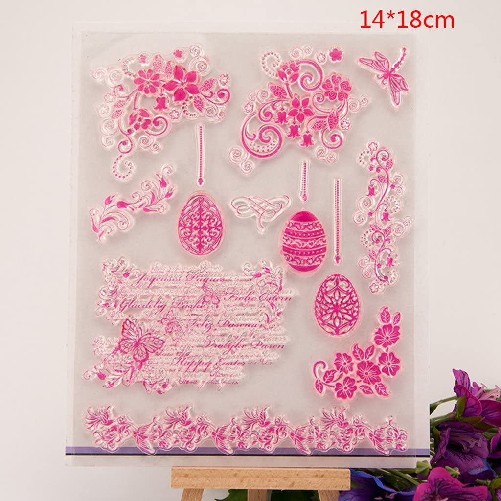 llwei258 Flower Silicone Clear Rubber Stamp Dies for Diary Scrapbooking DIY Card Making