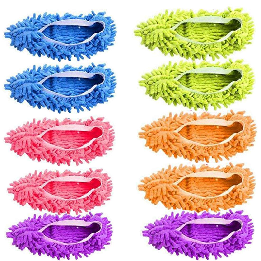 5 Pairs Washable Dust Mop Slippers Microfiber Cleaning Mop Slippers Shoes Dust Floor Cleaner Multi-Function Floor Cleaning Shoes Cover (Green,Blue,Orange,Purple)