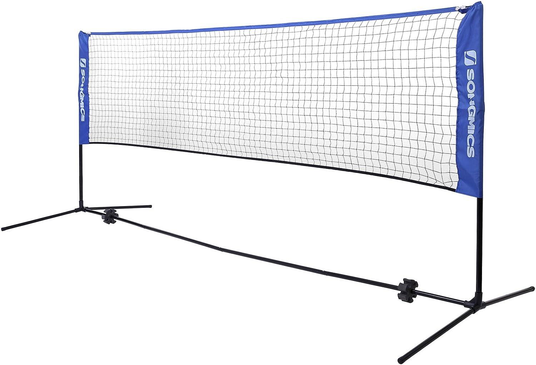 SONGMICS Red de Tenis B/ádminton de Longitud de Pie Altura Ajustable Entre 107-155 cm