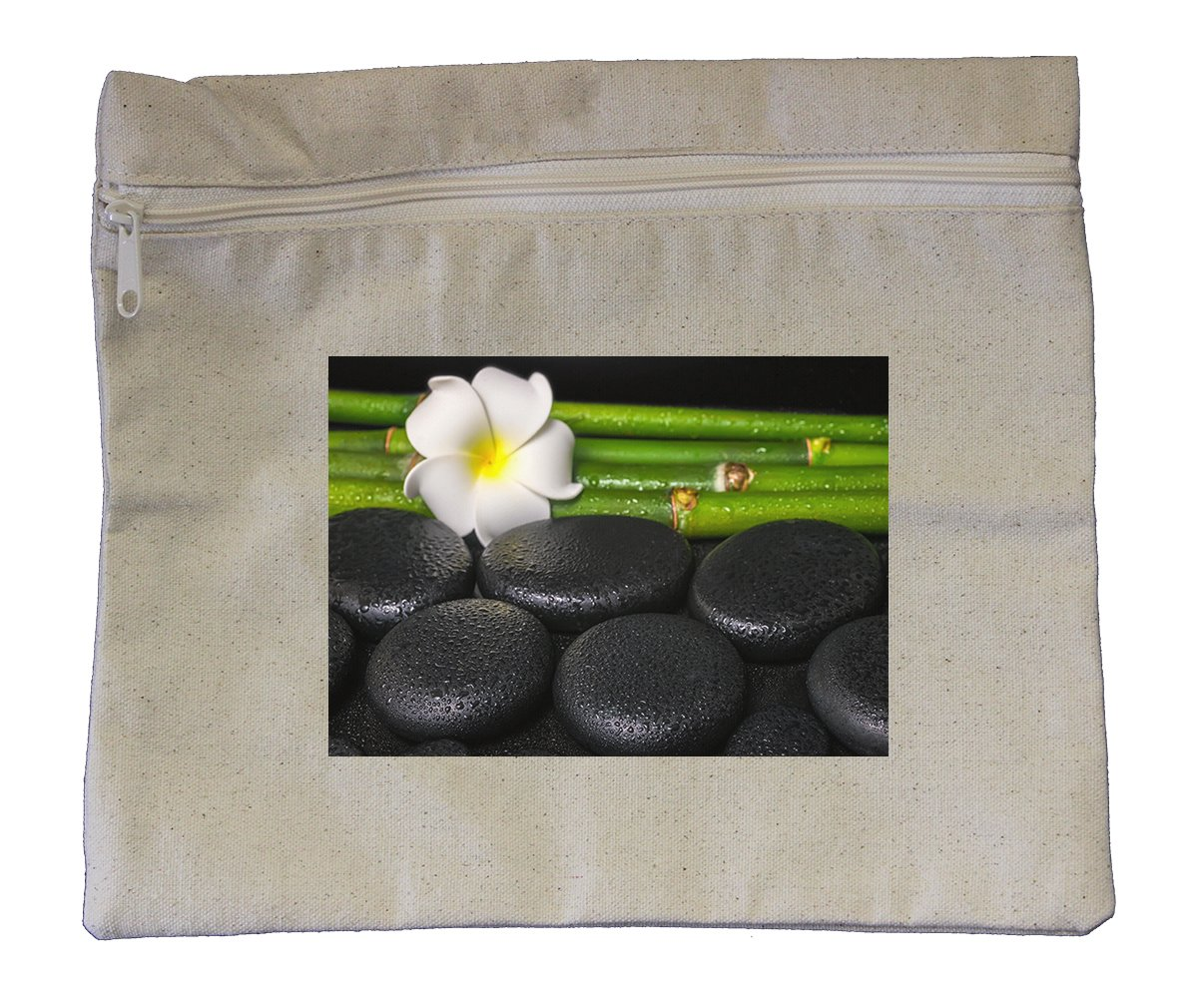 Canvas Zipper Pouch Tote Bag 10''X12'' Beautiful Spa Concept Zen Basalt Stones