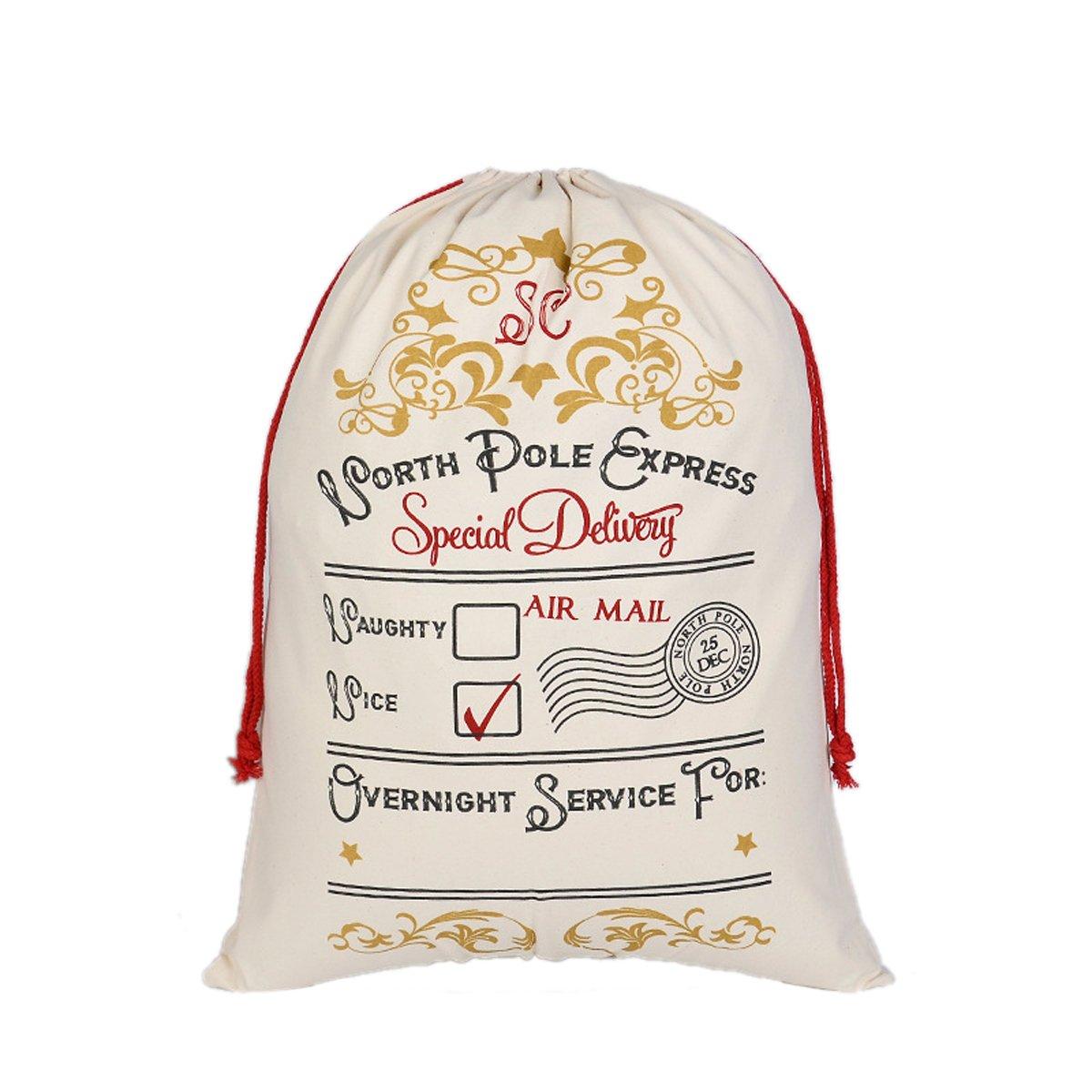 ZAloha Canvas Santa Bag Cotton Sack with Drawstring Personalized Name for Holiday Presents