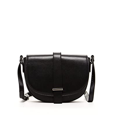 SUSU Saddle Bag Leather Crossbody Bags For Women Black Real ...