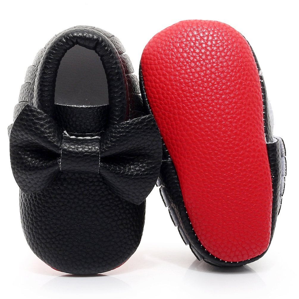 HONGTEYA Red Bottoms Shoes- PU Leather Newborn Baby Shoes Girl Boy Moccasins Bebe Fringe Soft Red Soled Non-Slip Crib Shoe (12.5cm 6-12 Months 4.92inch, Bow-Black)