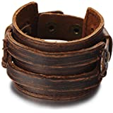 Metallic Genuine Leather Wristband Mens Wide Leather Bracelet with Snap Button