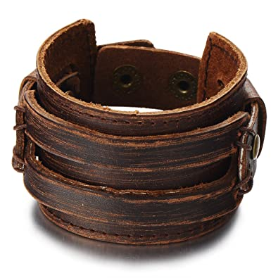 Unisex Wide Leather Bracelet Fashionable Leather Design with Snap Buttons cuBcm3