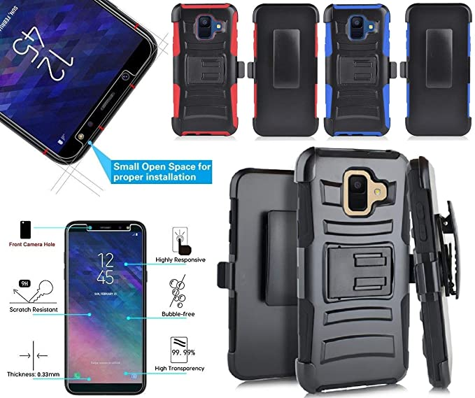 NP ARMOR Tempered Glass Screen Guard Protector And Holster Belt Clip Phone Case Cover