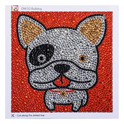 Brilliant 5D Diamond Painting Kit for Kids, Bulldog Full Drill Painting by Number Kits with Wooden Frame Embroidery Arts Craft Home Decor Ross Beauty: Arts, Crafts & Sewing