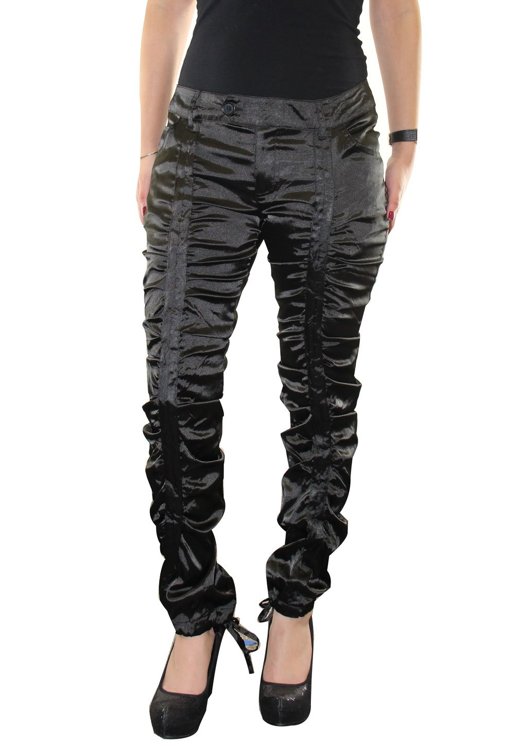 Overdrive womens Satin shirred pants Size 11 Black
